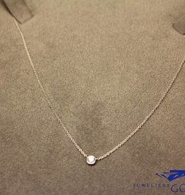 white gold mini necklace with 0.06ct brilliant cut diamond