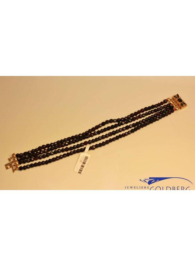 Antieke 14k armband met kleine parel en granaat
