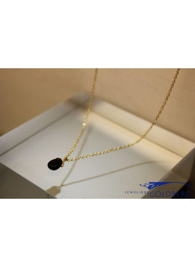 MAS necklace blackstone gold plated silver