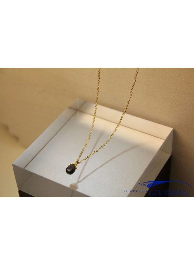 MAS necklace hematite gold plated silver