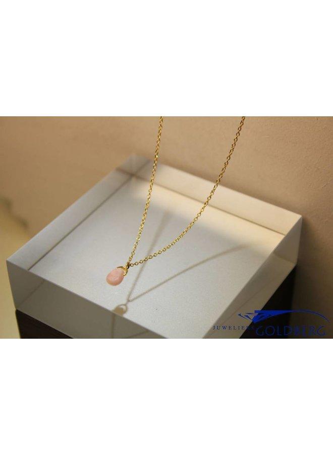 MAS collier roze opaal verguld zilver