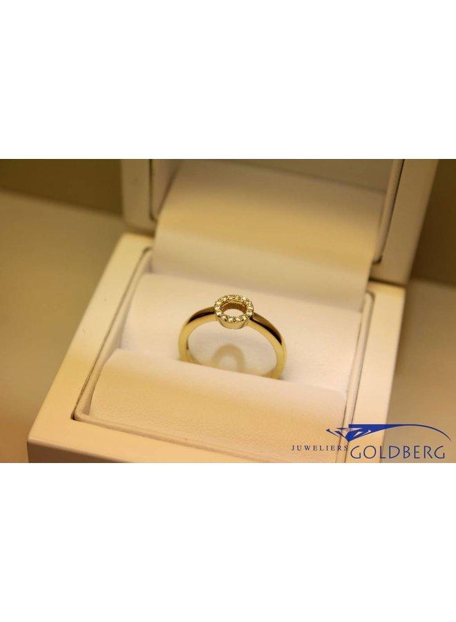 """14k moderne gouden """"cirkel"""" ring 0.14ct briljant"""