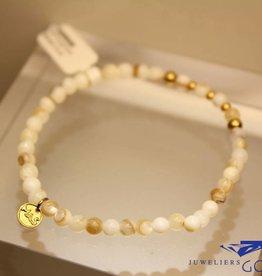 MAS Jewelz MAS armbandje mother of pearl goud model 2 M