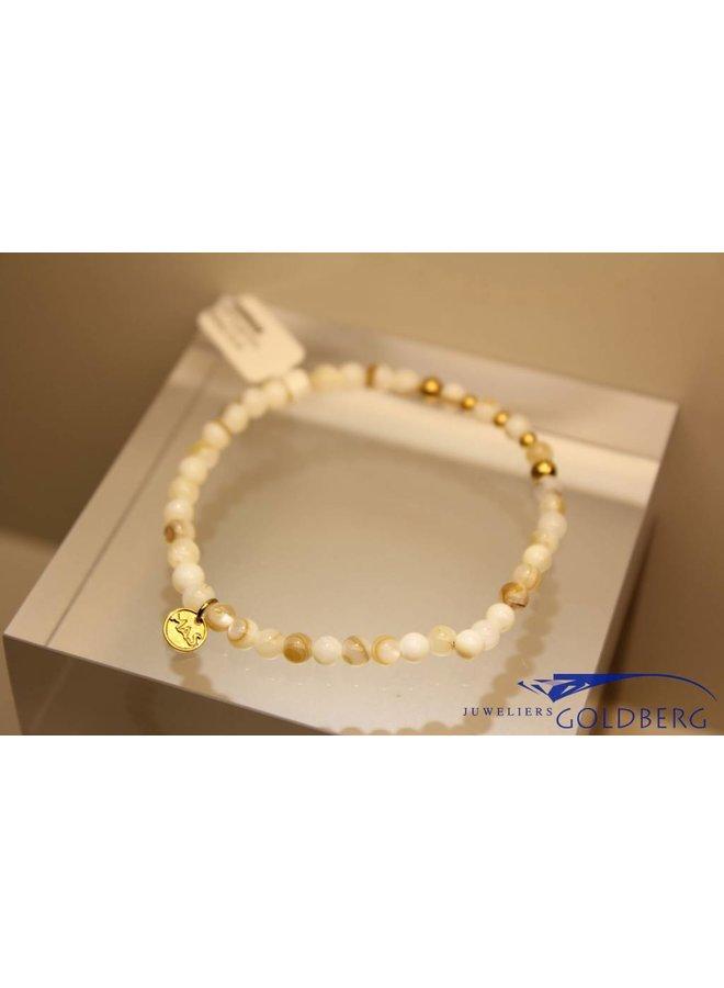 MAS armbandje mother of pearl goud model 2 M
