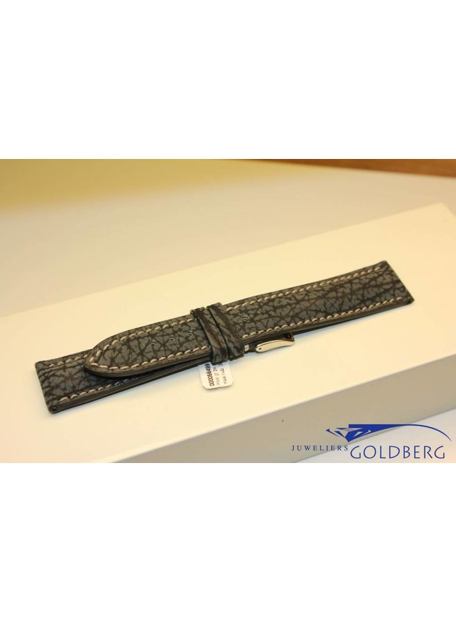 "Handmade watch band sharks leather grey-black ""extra bombage"" 20/18mm"