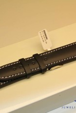 Handgemaakte horlogeband ECO kalfsleder zwart met fel wit stiksel 20/18mm