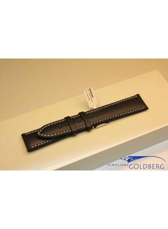 Handmade watch band ECO calfskin black with white stitchings 20/18mm