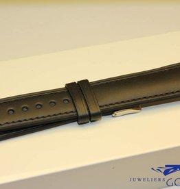 Handgemaakte horlogeband ECO kalfsleder zwart met zwart stiksel 20/18mm