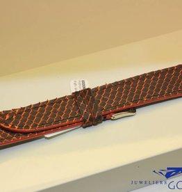 Handgemaakte horlogeband pythonleer oranje bruin 19/18mm
