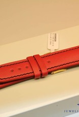 Handmade watch band ECO calfskin red with black stitchings 20/18mm