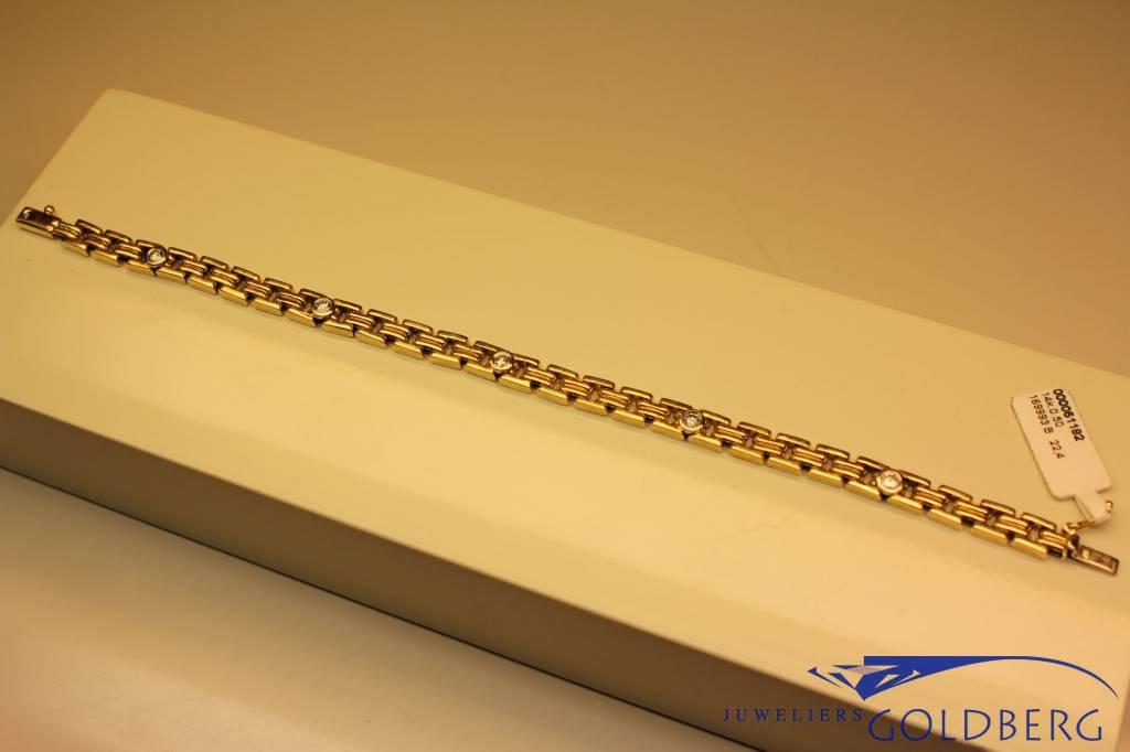 14k gouden fantasie armband met 5x 0.10ct briljant