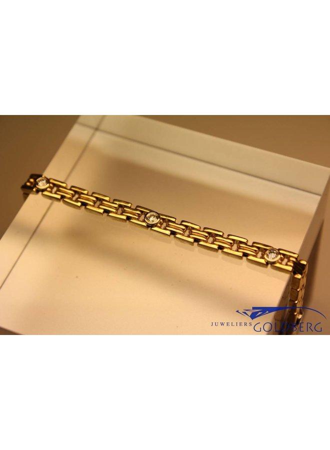 14 carat gold fantasy bracelet with 5x 0.10ct diamonds