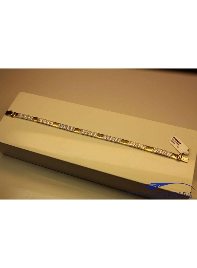 14 carat gold bracelet pave set with zirconia's