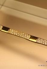14k gouden plaat armbandje pave gezet met zirconia