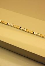 14 carat gold bicolor bracelet with zirconia's