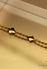 14 carat gold tricolor bracelet with spades, hearts, diamonds and clubs