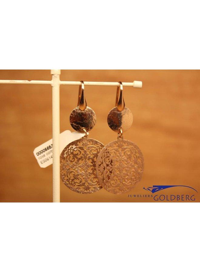 Zilveren rose hangende oorbellen