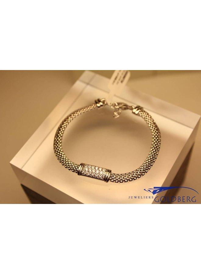 silver bracelet with zirconia's modern rectangular
