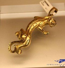 Vintage 14 carat gold panther pendant 60mm
