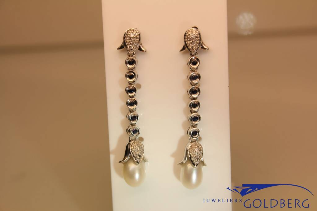 white gold earrings with pearl, sapphire and diamonds