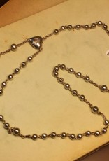 Antique silver rosary 1924-1947 engraved