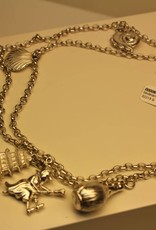 Silver charm necklace with 9 charms