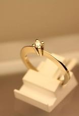14k witgouden solitair ring 0.10ct briljant