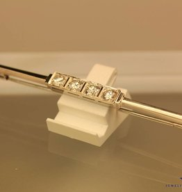 antieke witgouden art deco broche 0.80ct briljant