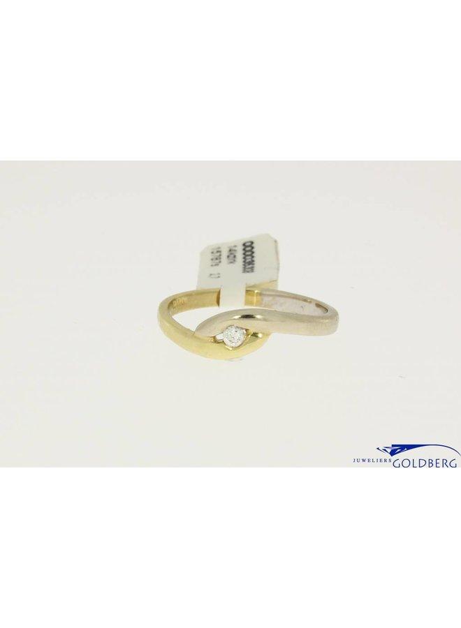14k bicolor gouden ring met zirconia