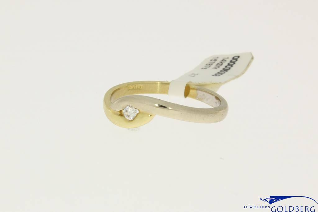 14k bicolor gold ring with zirconia