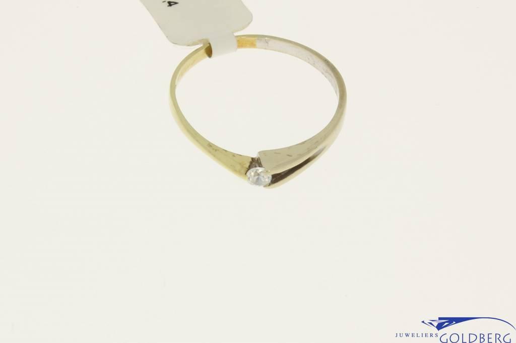 Vintage 14 carat bicolor gold solitaire ring with zirconia