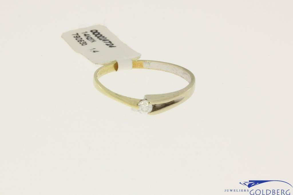 Vintage 14k gouden bicolor solitair ring met zirconia