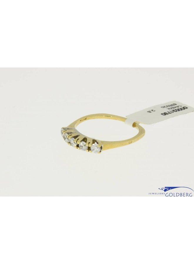 vintage 14k gouden alliance ring met 5 zirconia's