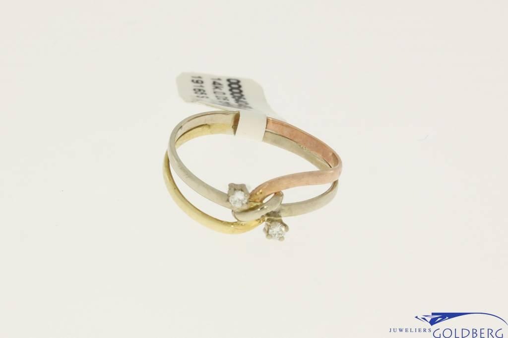 Vintage 14k tricolor gouden ring met 0.04ct briljant