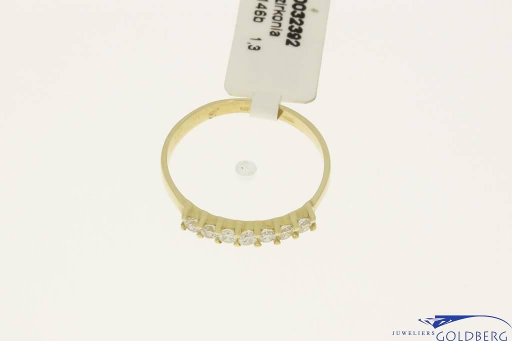 Vintage 14k gouden  alliance ring met zirconia's