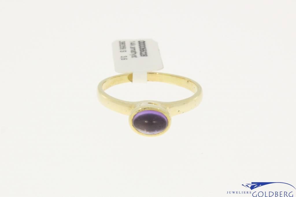 vintage strakke hoge 14k gouden ring met amethyst