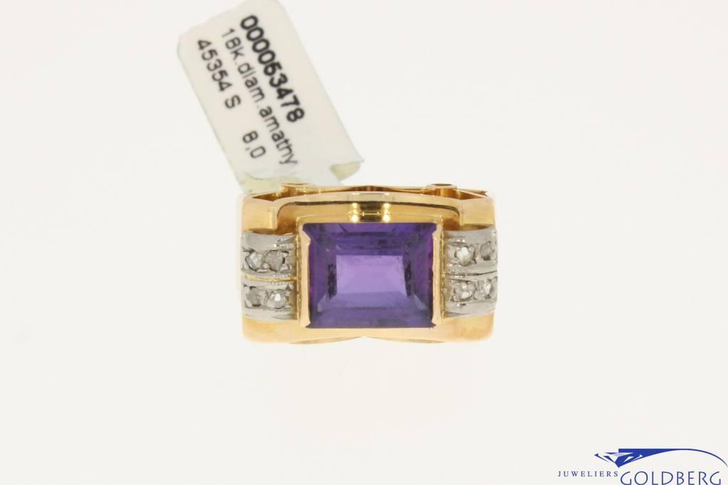 grote vintage 18k gouden ring met amethist en diamant