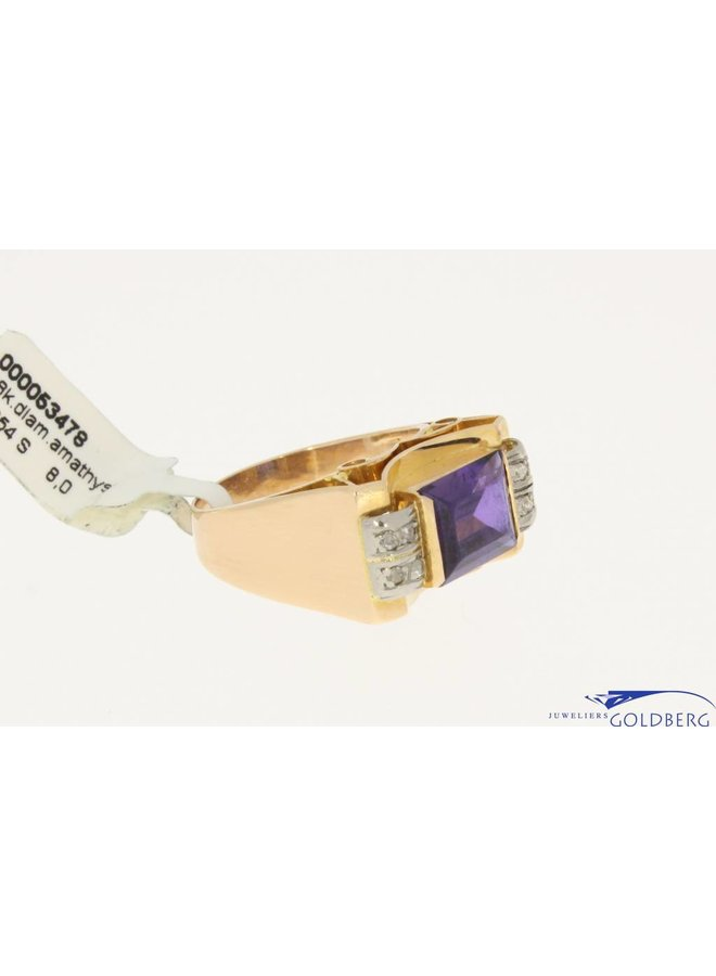 large vintage 18K gold ring with amethyst and diamonds
