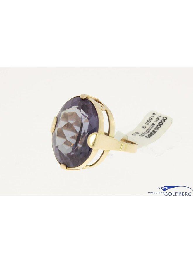 grote vintage 14k gouden ring met amethist