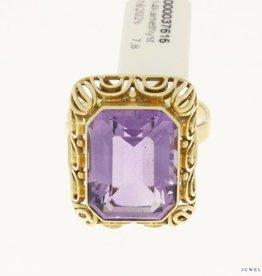 robuuste vintage 14k gouden ring amethist