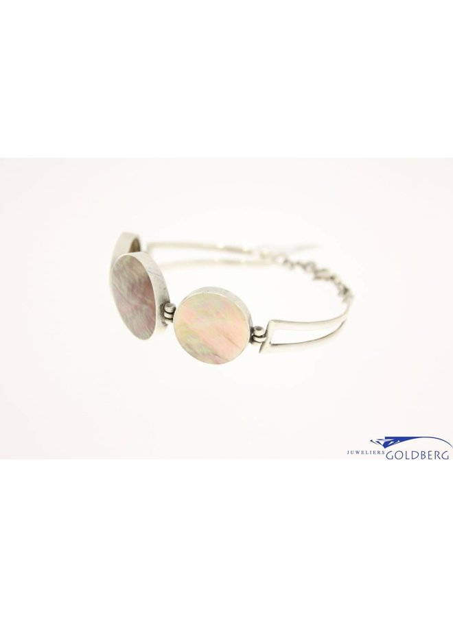 vintage silver bracelet with mother of pearl
