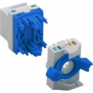 Toolless KeyStone Cat6a RJ45 Jack UTP Blue