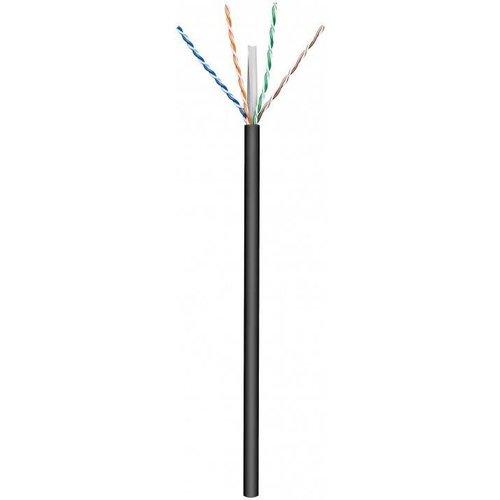 CAT6 U/UTP  buitenkabel stug 100M 100% Koper Zwart (netwerkkabel op rol)