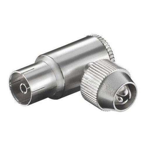 COAX hoek female 9.5 mm metaal