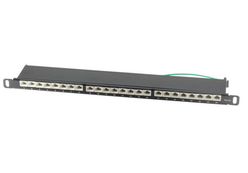 CAT6a Patchpanel slim 24 Port 0,5HE 19 inch