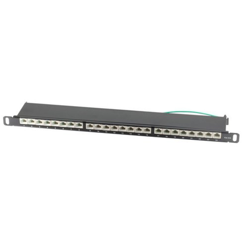 CAT6a Patchpanel slim 24 Port 0,5HE 19 inch black