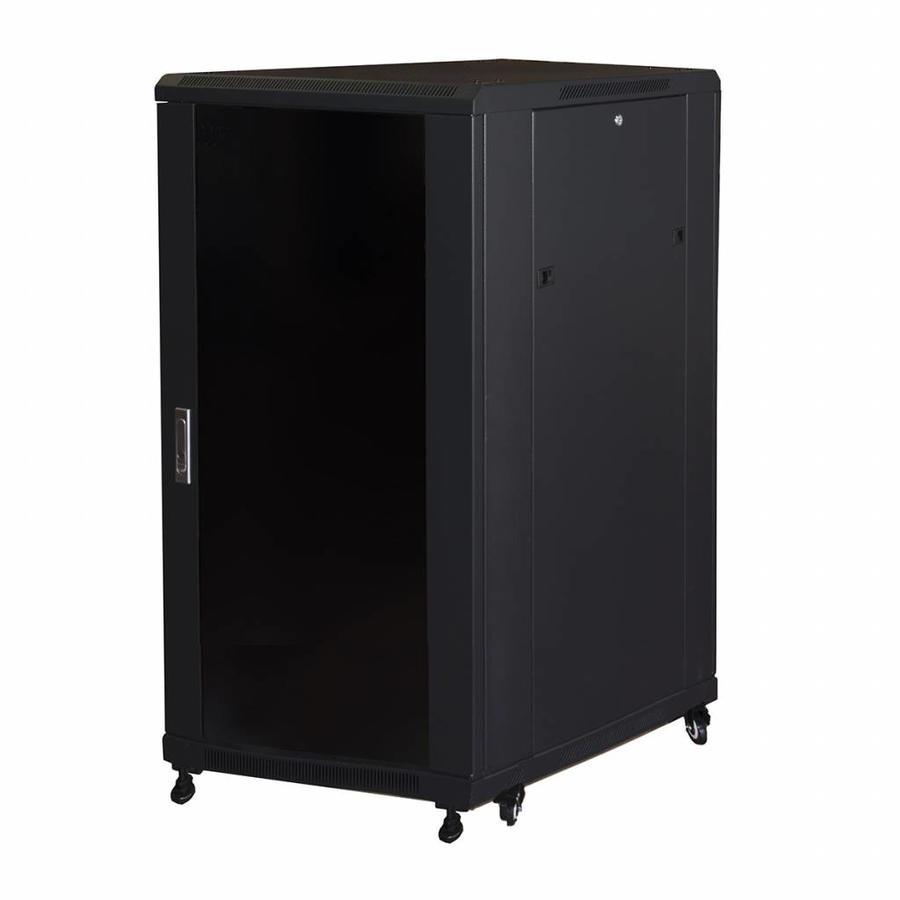 18U serverkast met glazen voordeur (BxDxH) 600x800x1000mm
