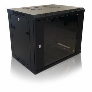 Bintra 9U wall patch cabinet with glass door 600x600x500 (WxDxH)