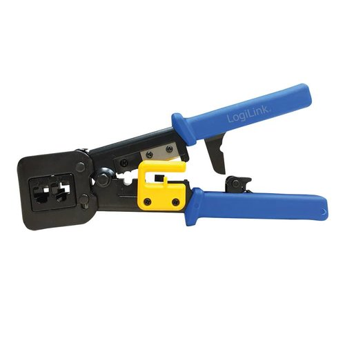 Crimping tool for RJ11, RJ12 and RJ45 plugs, with cutter