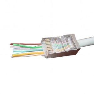 Doorsteek CAT5e Connector RJ45 - STP 100 stuks voor soepele en stugge kabel